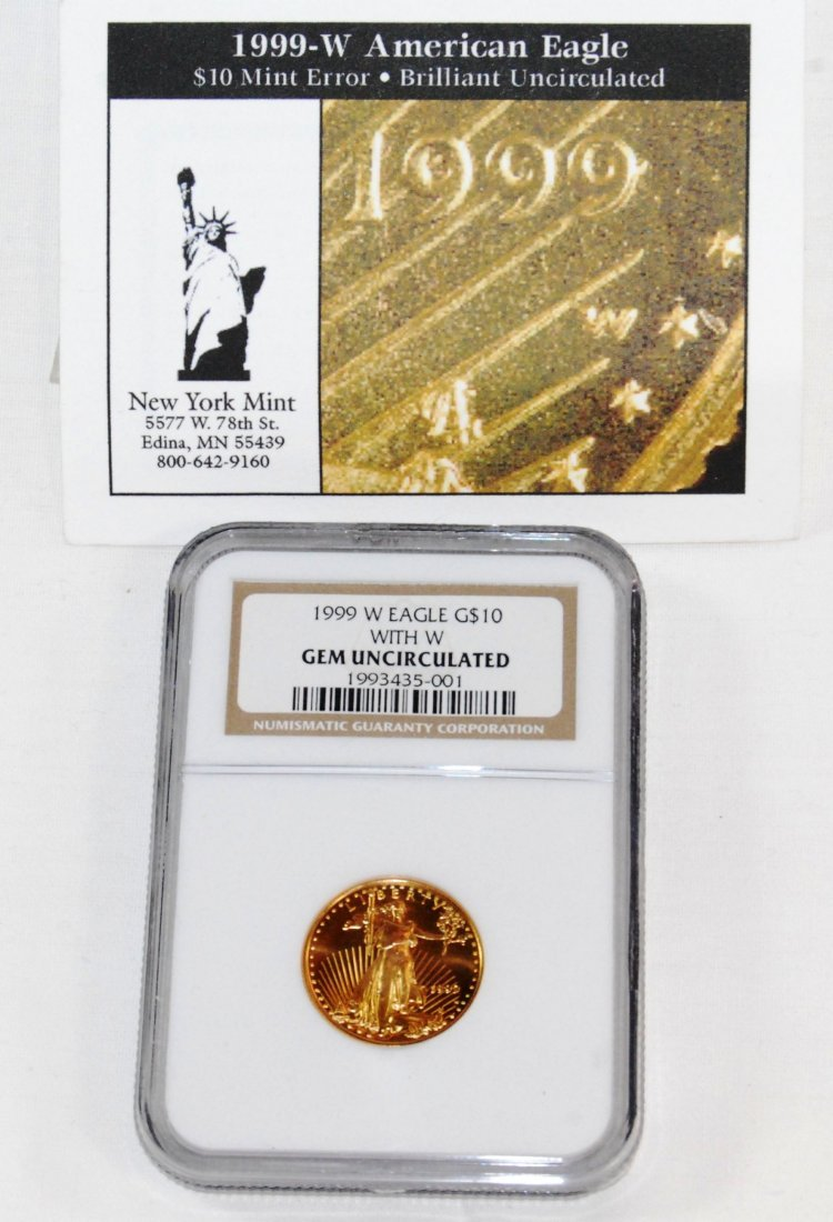 10: US 1999 West Point American Eagle $10 Gold Coin Gra