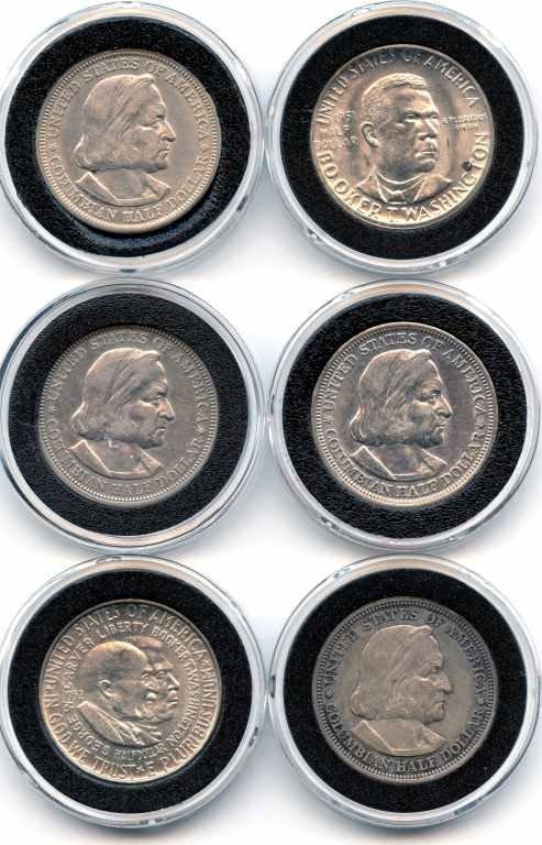 11: 6 US Silver 1/2 Dollar Comm - (3) 1893 Colum Expo.,