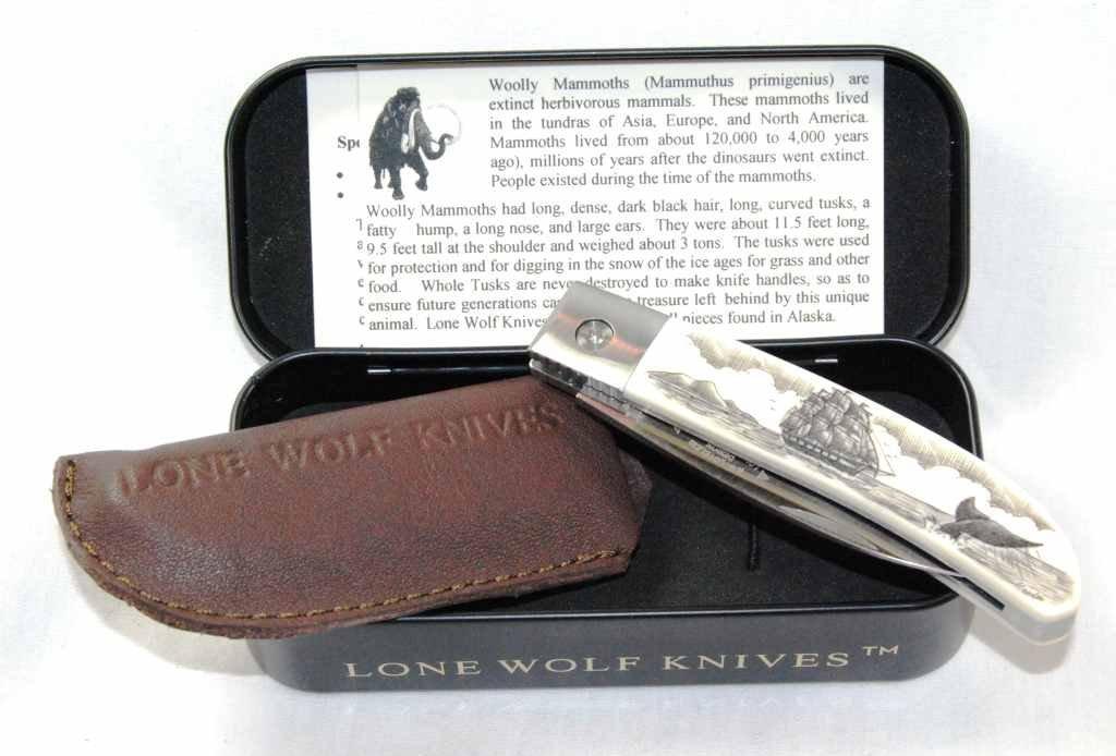 5: Lot of 5 Ivory/Bone Woolly Mammoth Scrimshaw Style K