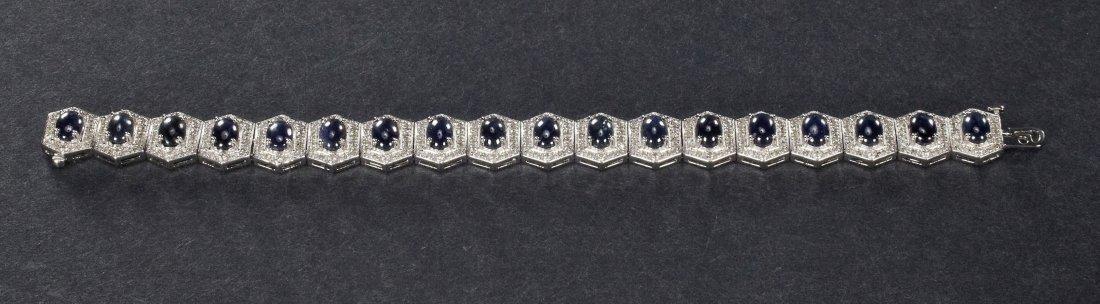 Sterling Silver, Blue Sapphire, & Diamond Bracelet - 20
