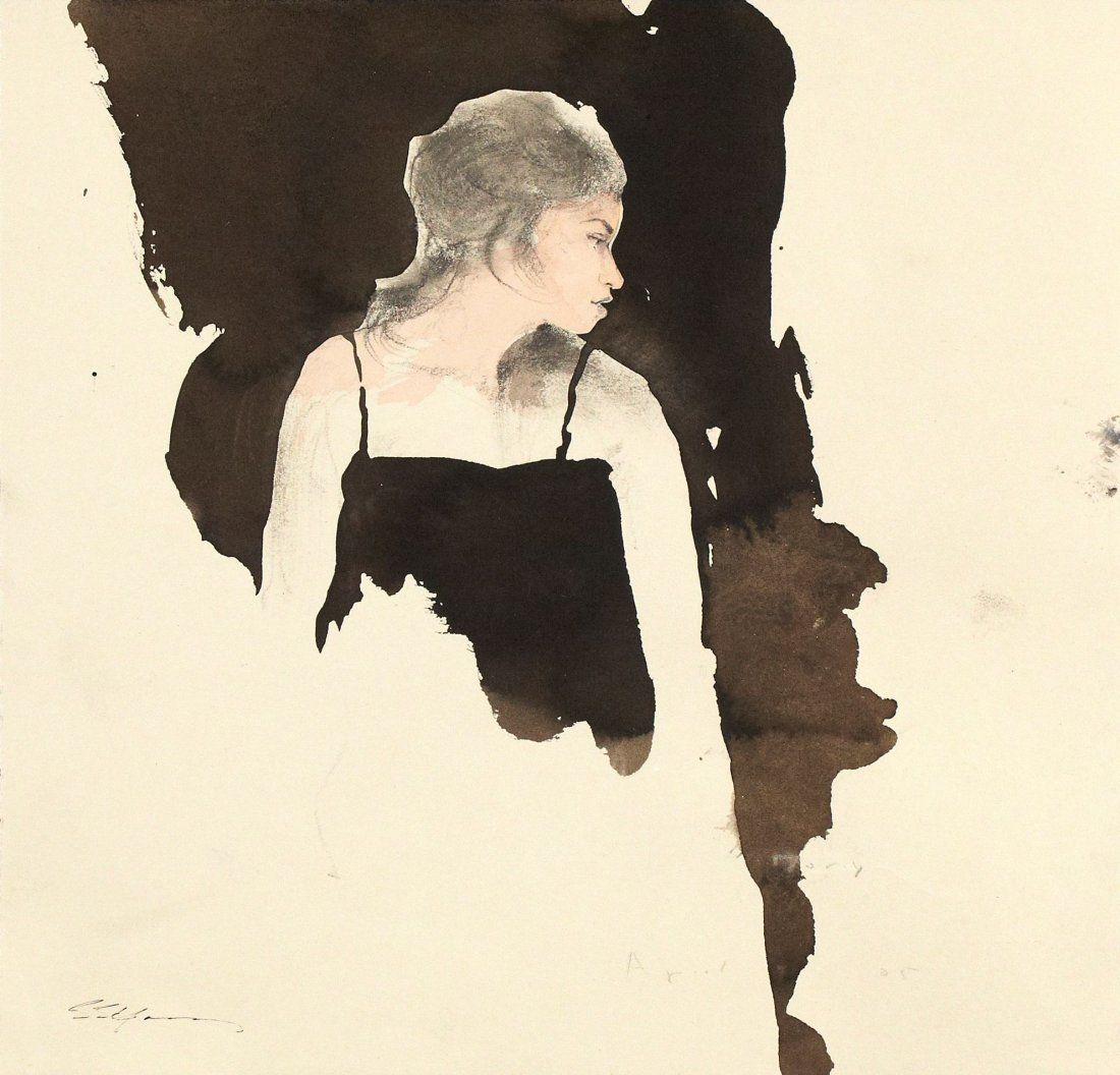 """Listed Artist Stephen Scott Young Watercolor Study """"Tor"""