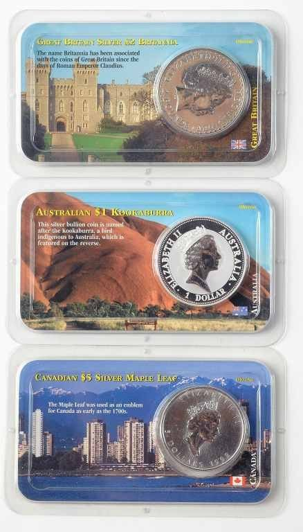 Lot of 3 Uncirculated Silver Dollar Coins – Australian,