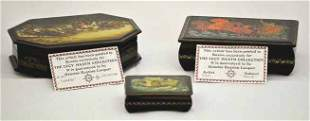 Lot of 3 Hand Painted Lacquer Russian Dresser Boxes