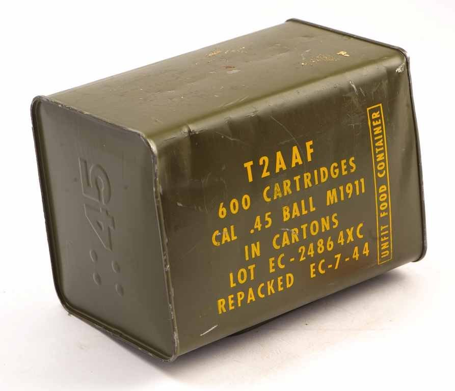 Un-opened Can of T2AAF 600 Cartridges of Cal .45 Ball