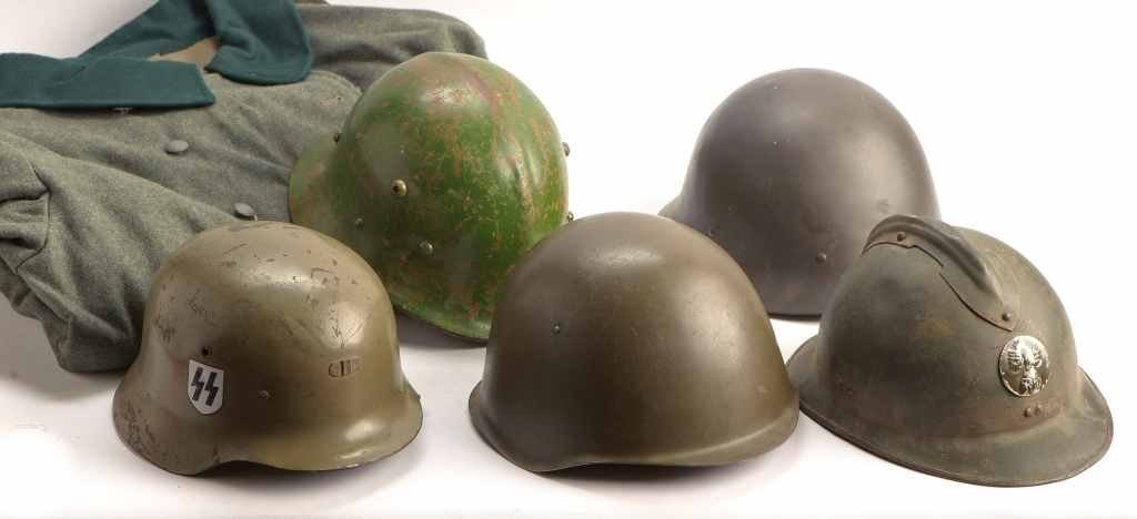 Vintage Collection of Military Coat and 5 Helmets