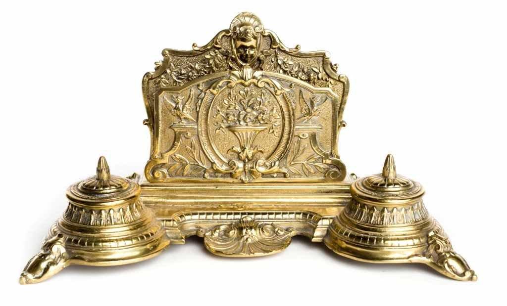 """Antique Brass Art Nouveau """"J.H. Depose' 96"""" Desk"""