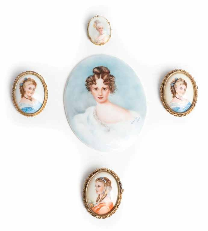 Victorian Hand-painted Portrait Limoges 5 Brooches & 1