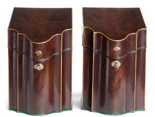 Pair of Antique Wood Parquetry English Wood