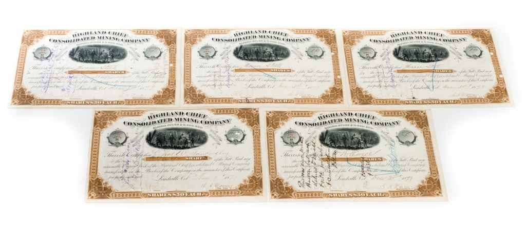 Collection of Five $50 Highland Chief Consolidated
