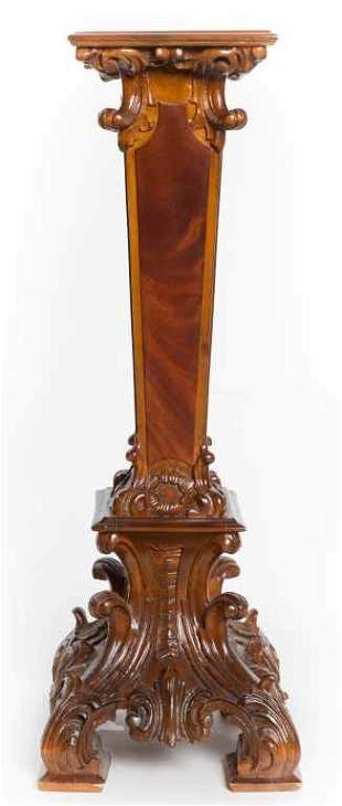 Ornately Carved Flame Mahogany Fern Stand or Pedestal