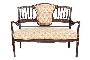 Antique Victorian Spindle Back & Carved Bench / Settee