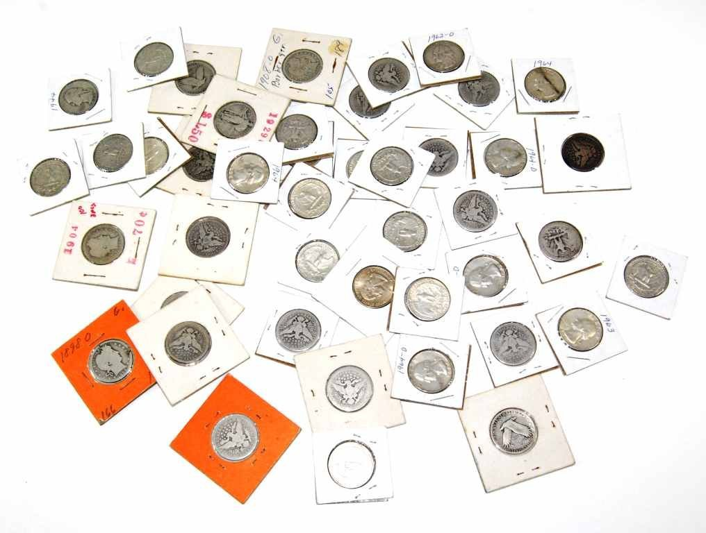 Collection of 44 Pre-1964 United States Silver Quarters
