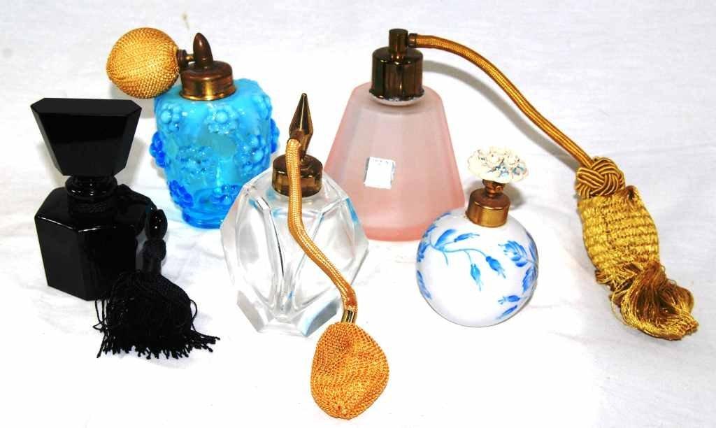 Lot of 5 Vintage Perfume Bottles – Porcelain & Glass