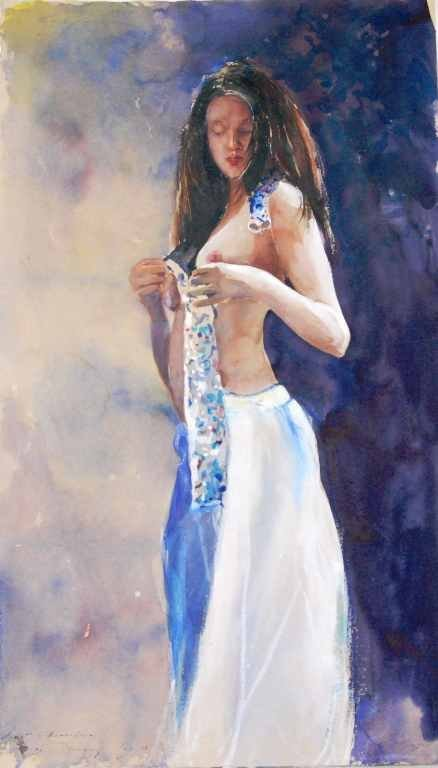 """Stephen Scott Young, """"Tiffany"""" Nude, Watercolor"""