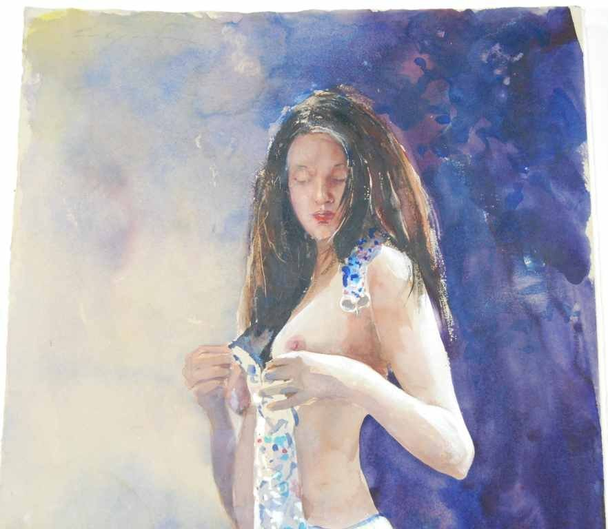 """Stephen Scott Young, """"Tiffany"""" Nude, Watercolor - 2"""