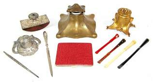 Tiffany Letter Opener, Sterling, Inkwells, Cig Holders