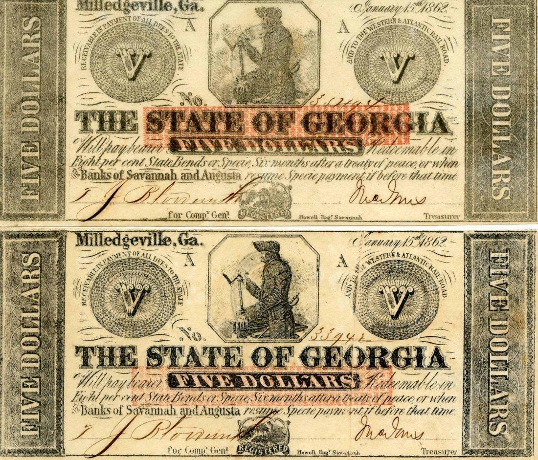 "2 Rare Civil War $5 Dollar Notes ""The State of Georgia"""