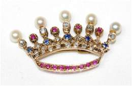 14K Ladies Gold Pearl Diamond Ruby  Sapphire Crown