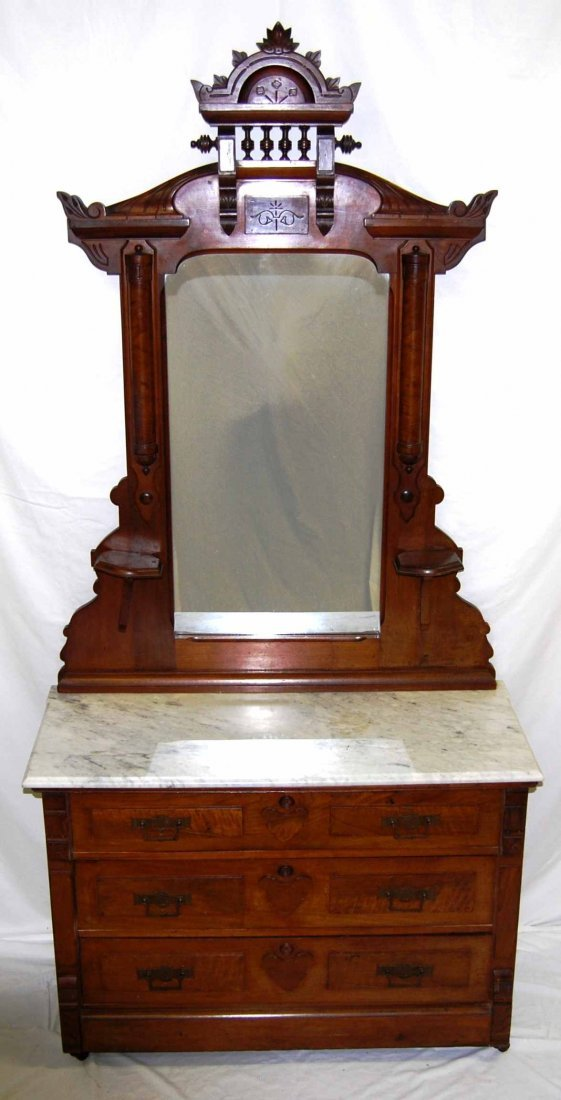 Antique Walnut Eastlake Marble-top Dresser w/ Mirror
