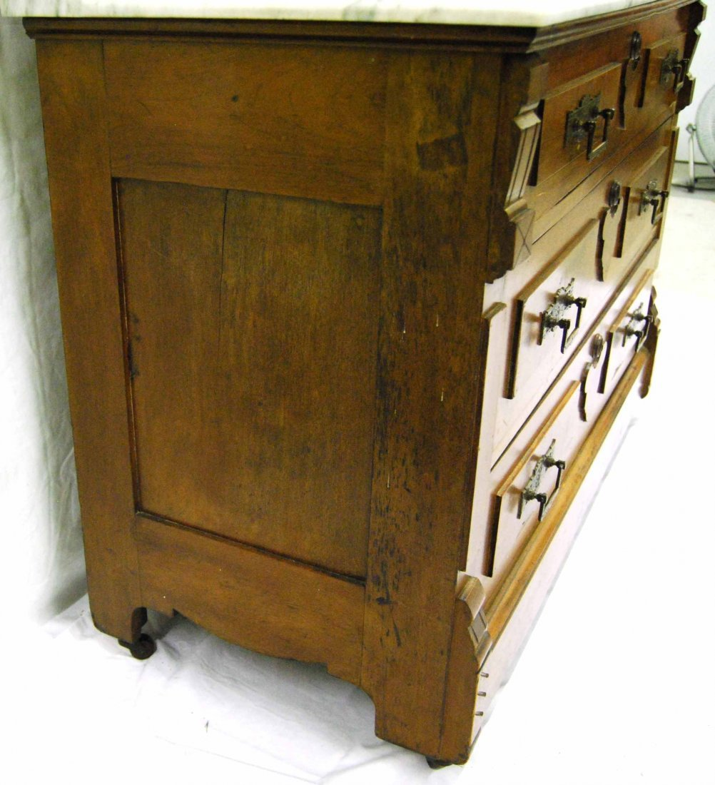 Antique Walnut Eastlake Marble-top Dresser w/ Mirror - 9