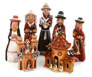 Collection of 7 Santo Domingo Clay Figural Pottery