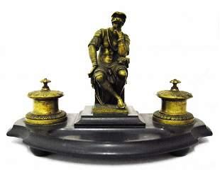 Bronze & Marble Inkwell