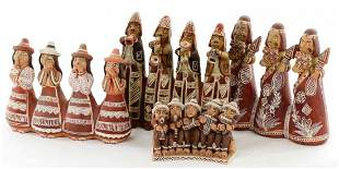 Collection of 4 Santo Domingo Clay Figural Pottery