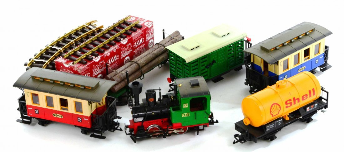 LGB Lehmann Toy Train Set, Engines, Track, Tankers - 2
