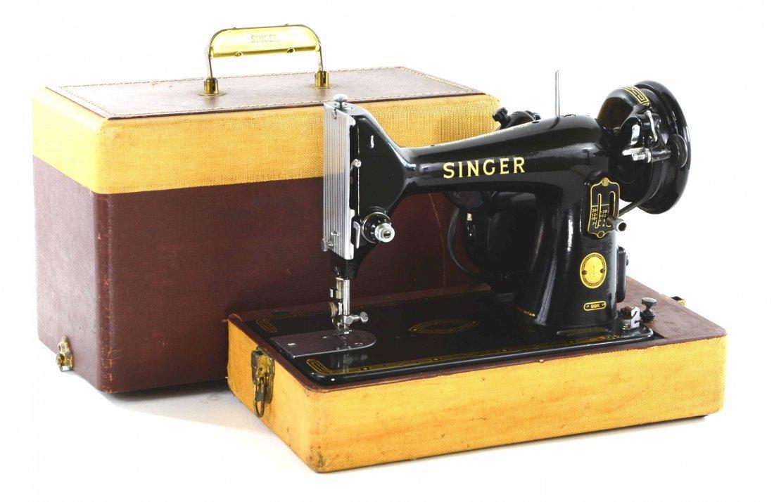 Antique Singer Sewing Machine, BZ 15-8 in Original Case