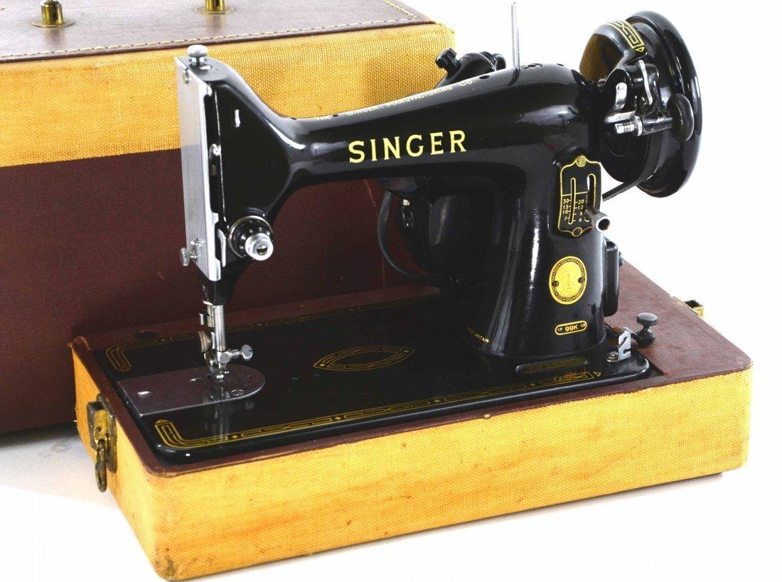Antique Singer Sewing Machine, BZ 15-8 in Original Case - 2