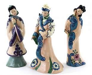 Set of 3 California Ceramic Pottery Oriental Figures