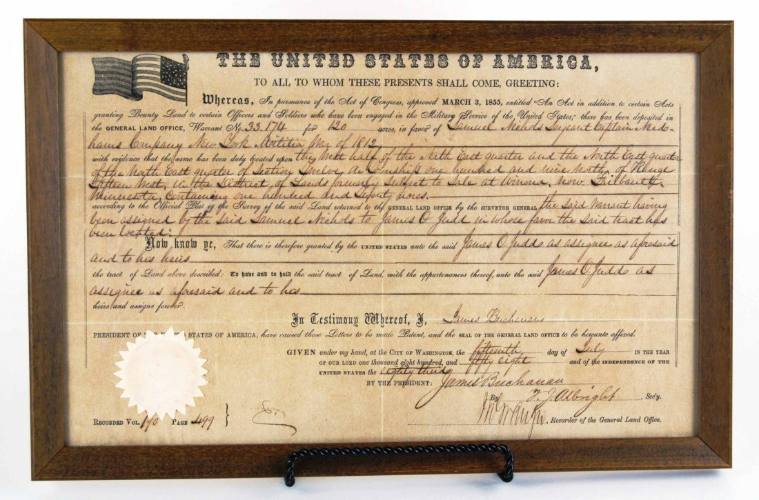 RARE 1858 US Military Service Land Deed Document