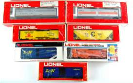 Vintage Collection of 7 Lionel Train Cars w Boxes