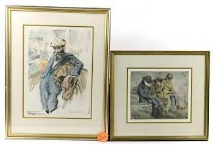 Pair of Framed Joseph Margulies Aquatint Etchings