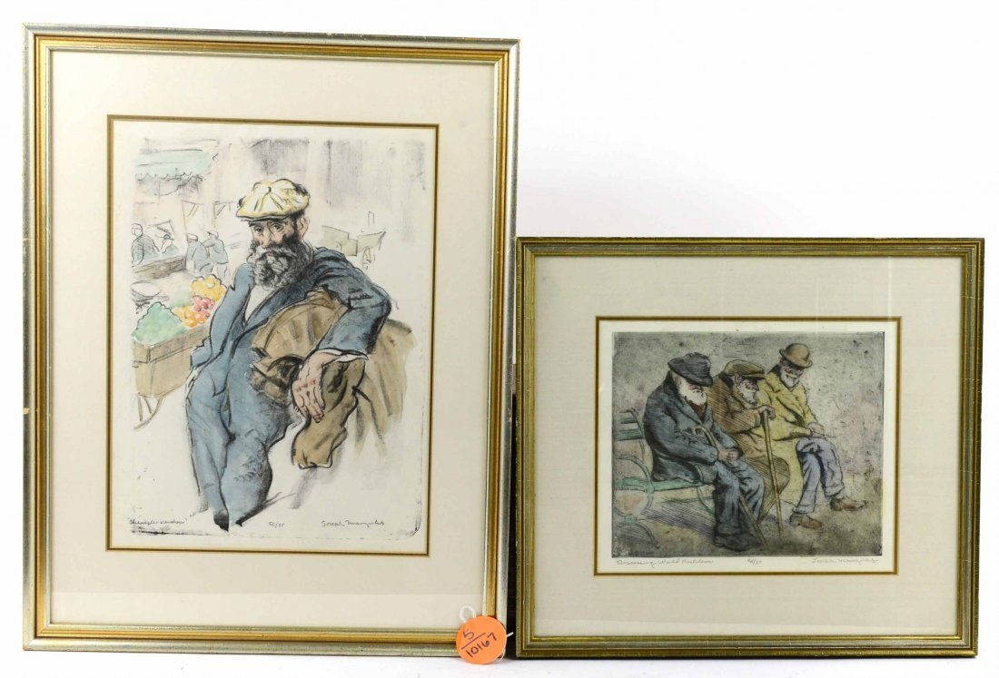 Pair of Framed Joseph Margulies Aquatint Etchings