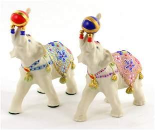 Pair of Signed Cybis 1975 Porcelain Elephant Scupltures