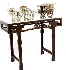 Ornate Chinese Cloisonné Horse Drawn Carriage / Chariot