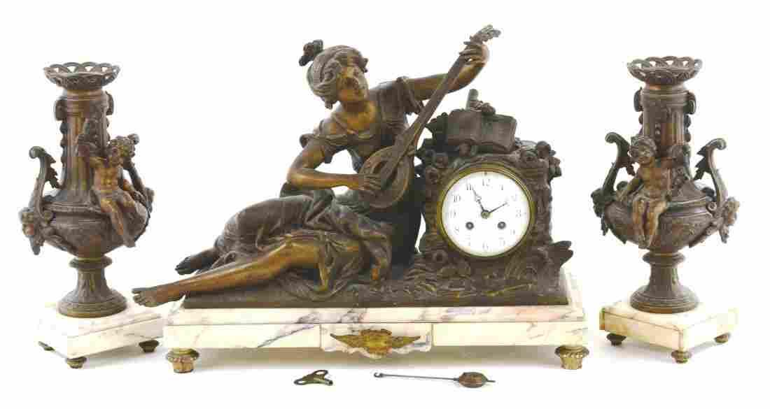 Auguste Moreau Bronze Spelter & Marble Mantle Clock