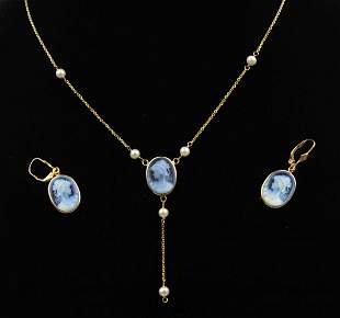 14K Gold Cameo on Black Onyx Necklace & Earring Set