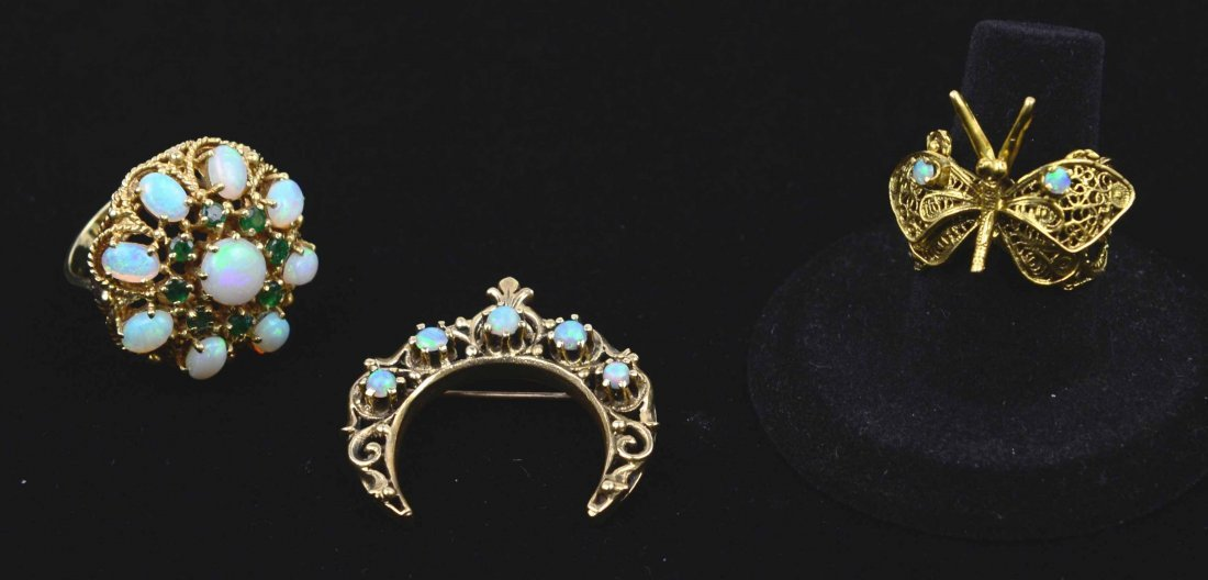Collection of 14K Gold Jewelry w/ Opals & Emeralds