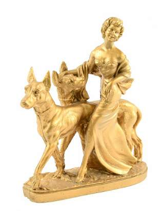 Art Deco Chalkware Sculpture of Lady w/ Pair of Hounds