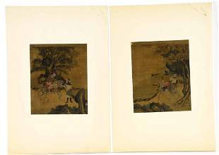 Pair of Antique Signed Oriental Paintings on Silk