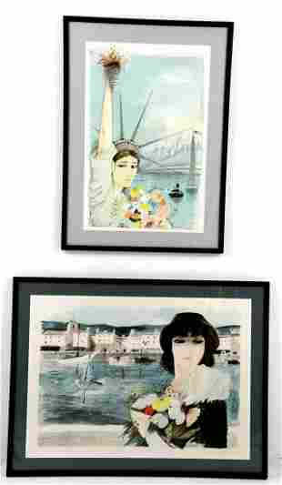 Pair of Signed Lithographs, by Charles Levier