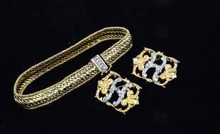14K Yellow Gold & Diamond Jewelry – Bracelet &