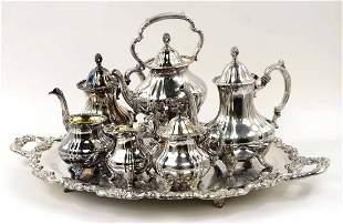 7 Piece Silverplate Tea Set, E.P.C.A Lancaster Rose