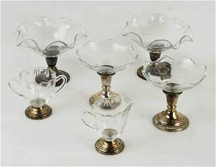 Set of 6 Pcs Sterling Weighted Glass Bowls, Creamer &