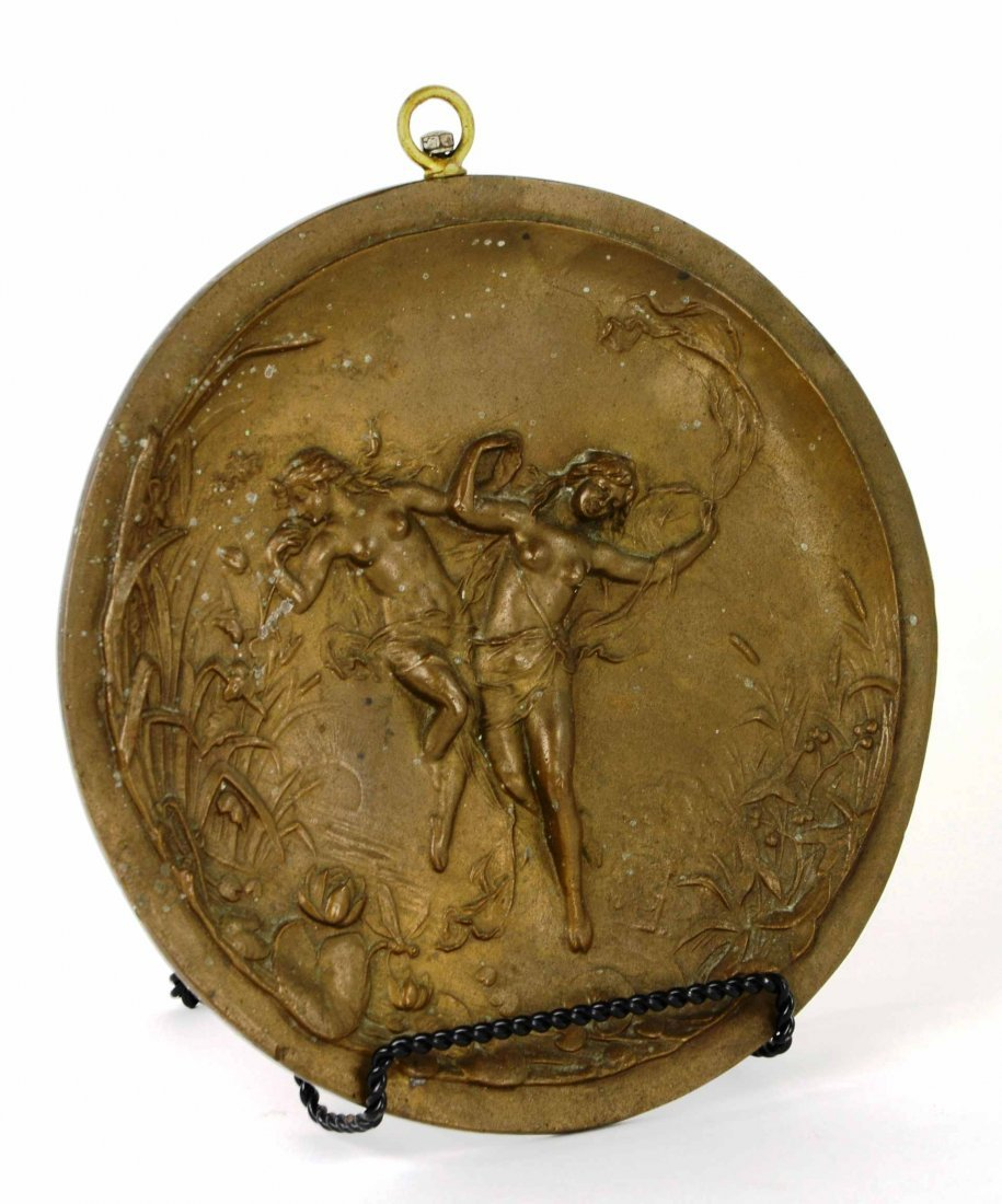 Antique Art Nouveau Nude Figural Bronze Wall Plaque - 2