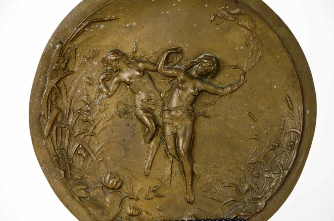 Antique Art Nouveau Nude Figural Bronze Wall Plaque - 3