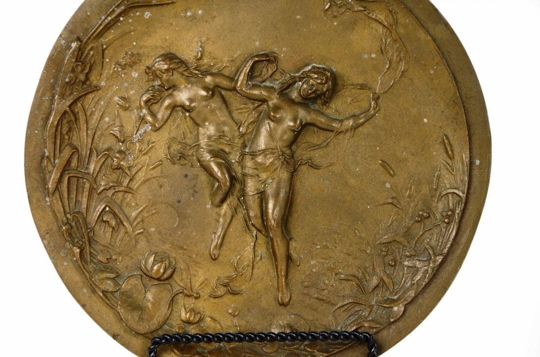 Antique Art Nouveau Nude Figural Bronze Wall Plaque - 4