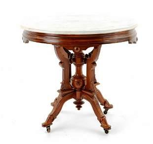 Antique Eastlake Beveled Marble Top Side Table